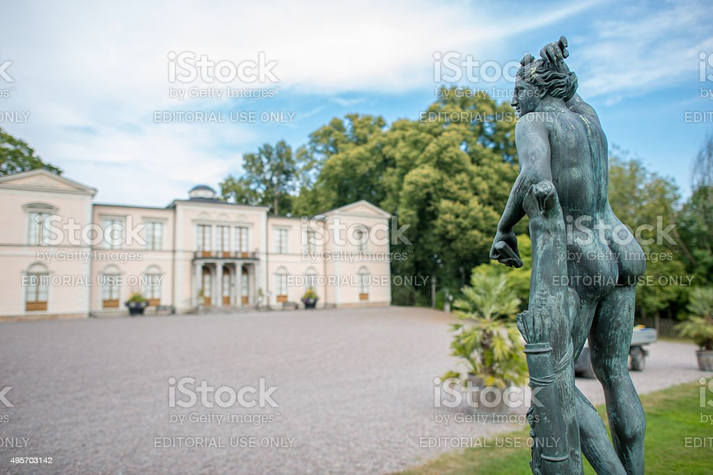 Apollo at Rosendal Palace in Sweden stock photo