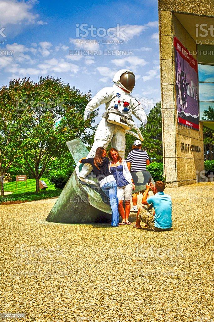 Apollo Spaceman sculpture outside the Gerald R Ford Museum MI stock photo
