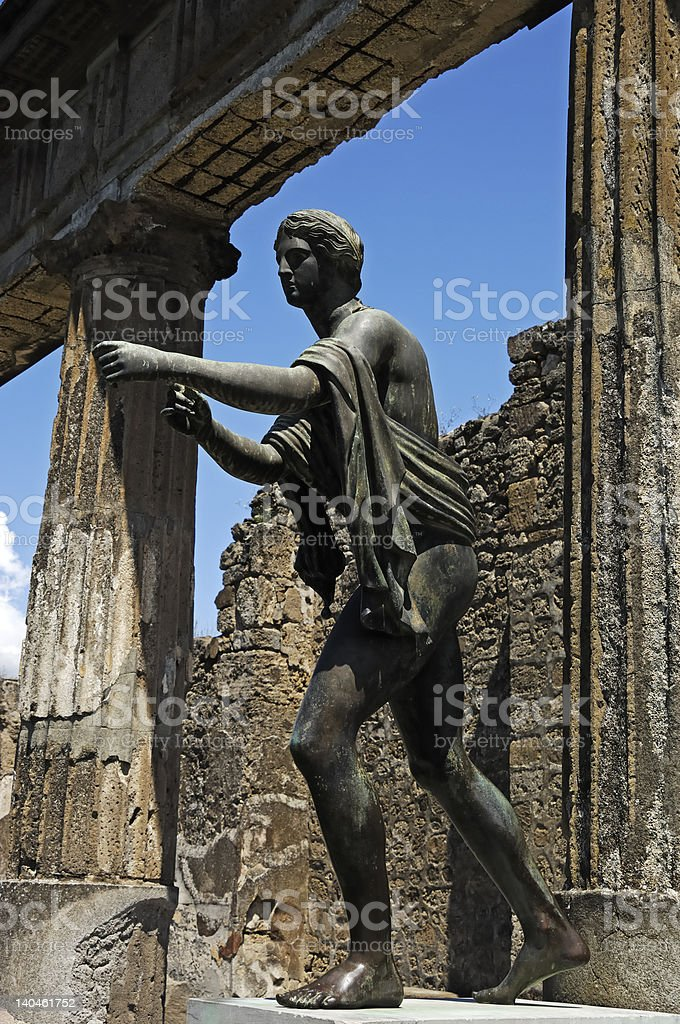 Apollo statue in Pompei ruins stock photo