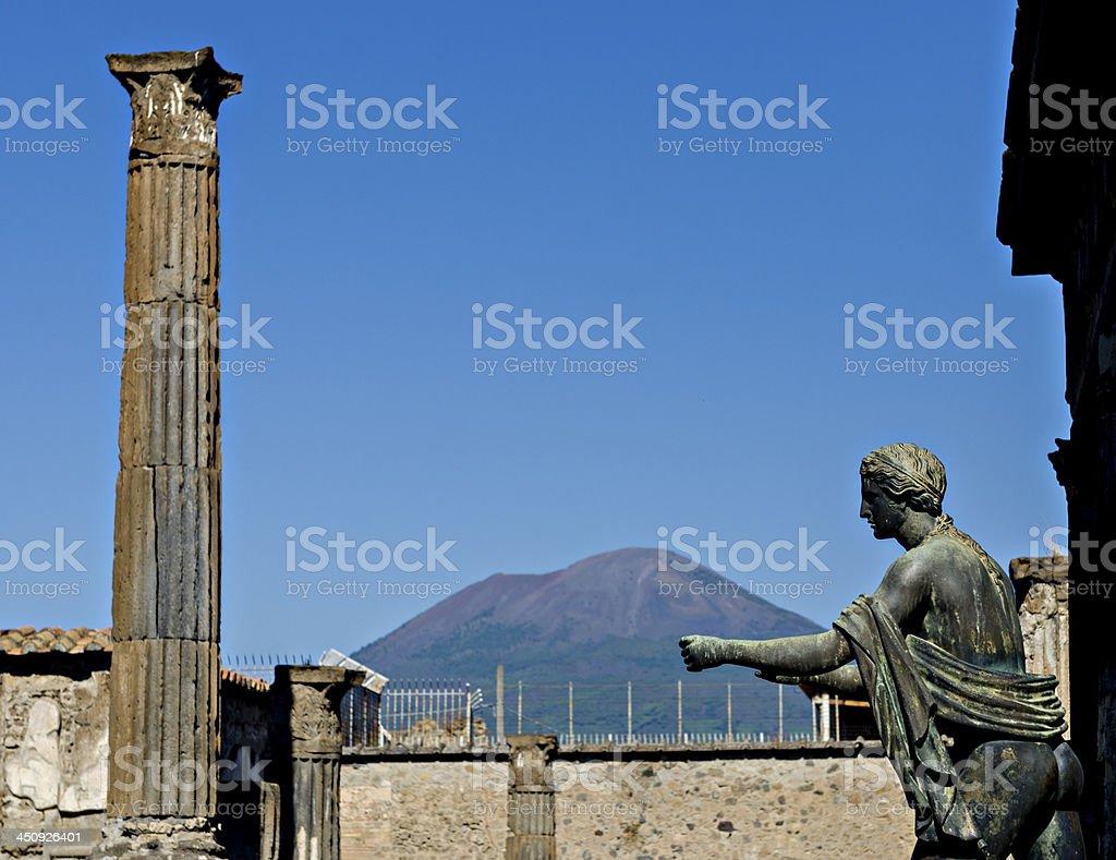 Apollo Temple and Mount Vesuvius in the background, Pompeii stock photo