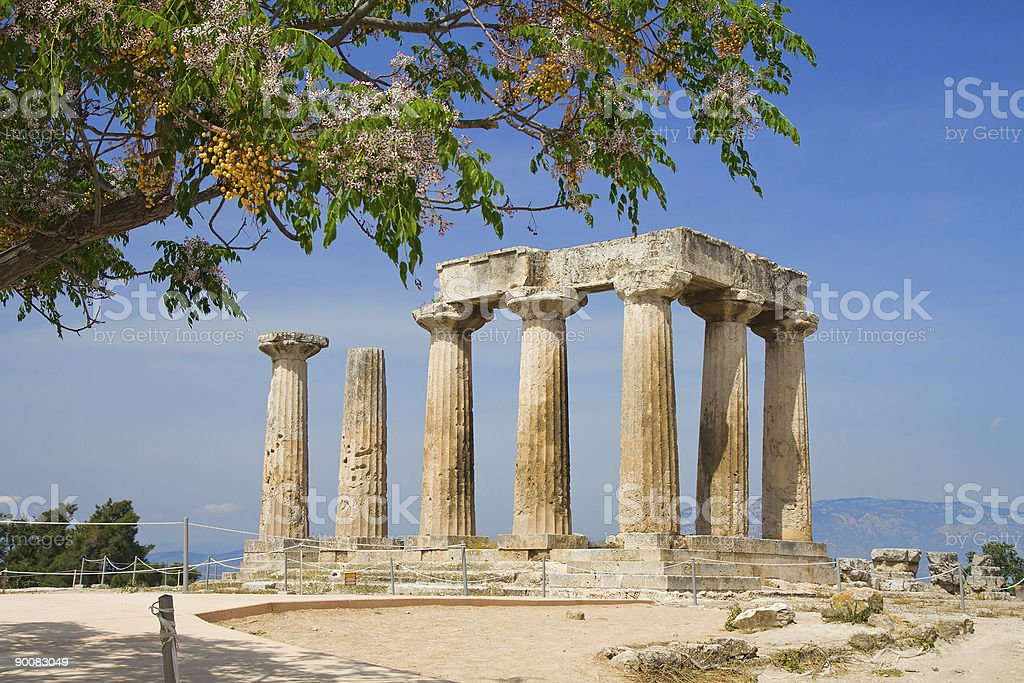 Apollo Temple in Corinth, Greece royalty-free stock photo