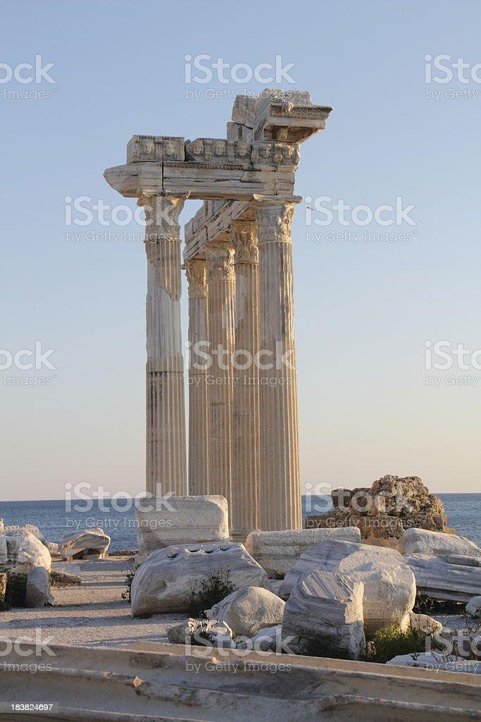 apollo temple in side turkey stock photo