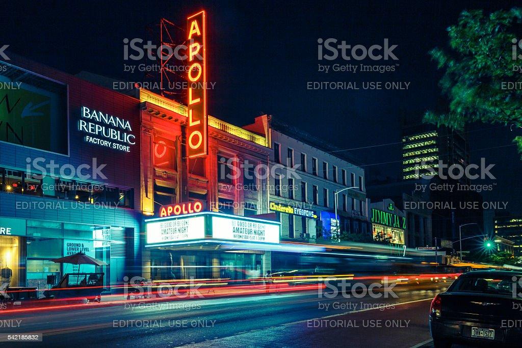 Apollo Theater in Harlem Overnight stock photo