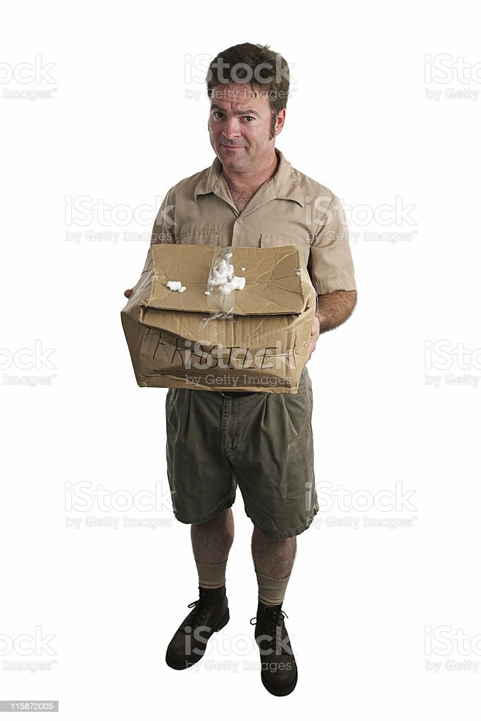 Apologetic Delivery Man royalty-free stock photo