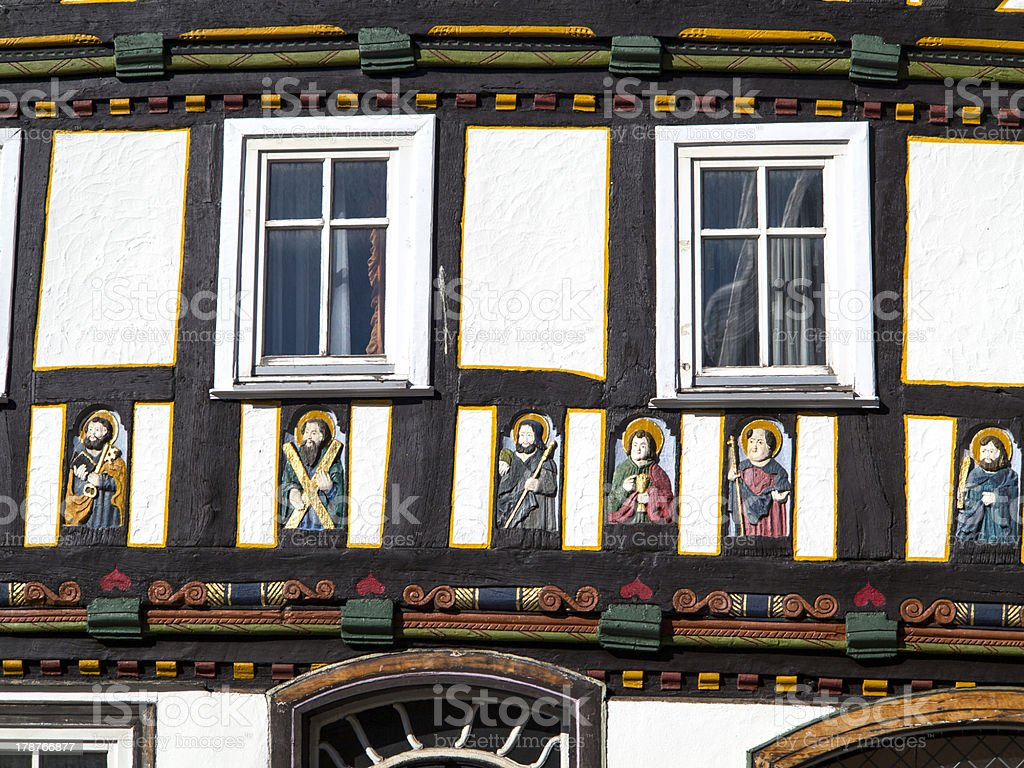 apostel half timbered house in fairy tale town of Steinau stock photo