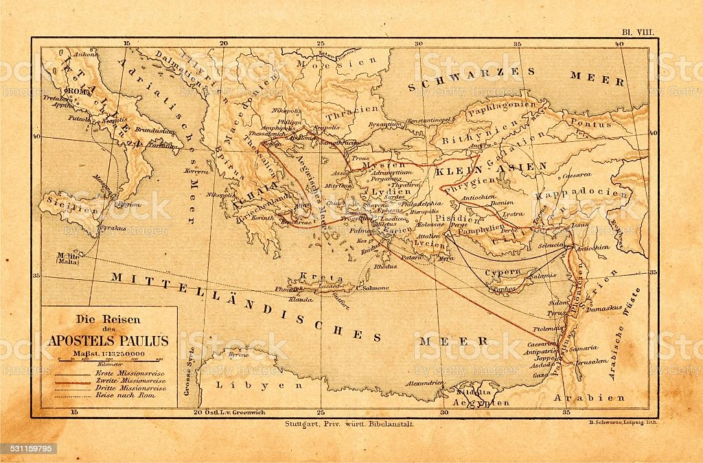 Apostle paul travel routes in german bible from 1895 stock photo