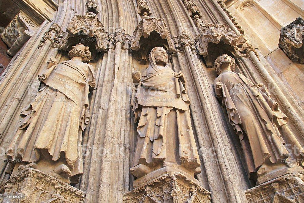 Apostles Gate of Valencia cathedral, spain. stock photo