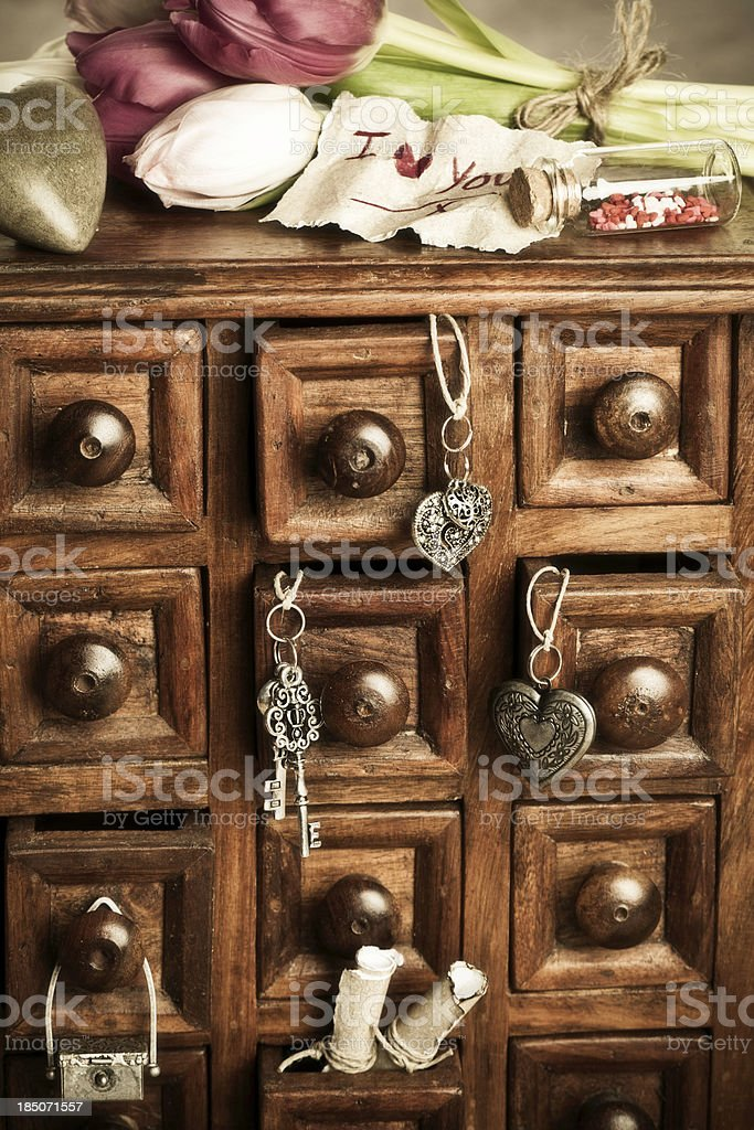 Apothecary Cabinet with Trinkets royalty-free stock photo