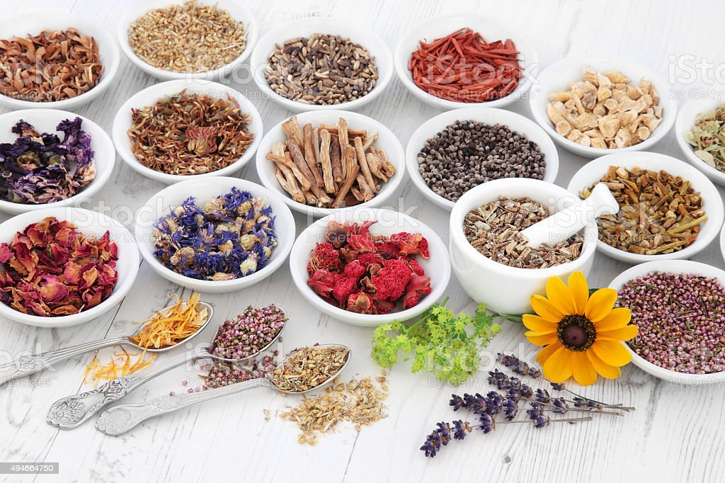Apothecary Flowers and Herbs stock photo