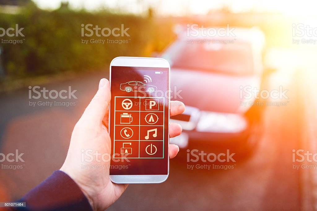 App connects to car and let user control it stock photo
