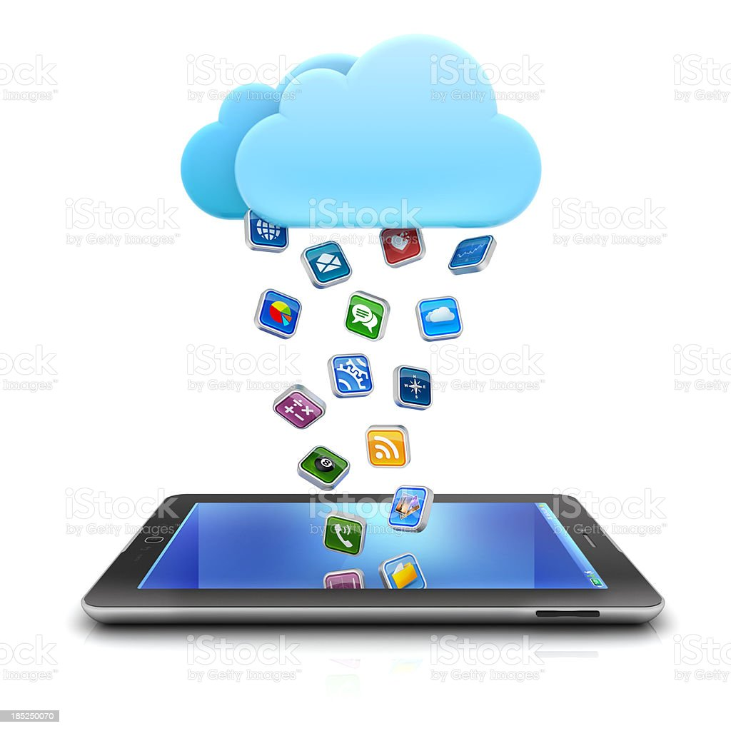 app rain from cloud to tablet stock photo