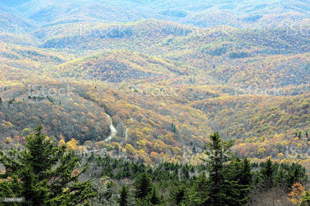 Appalachian autunno vista sulle montagne foto stock royalty-free