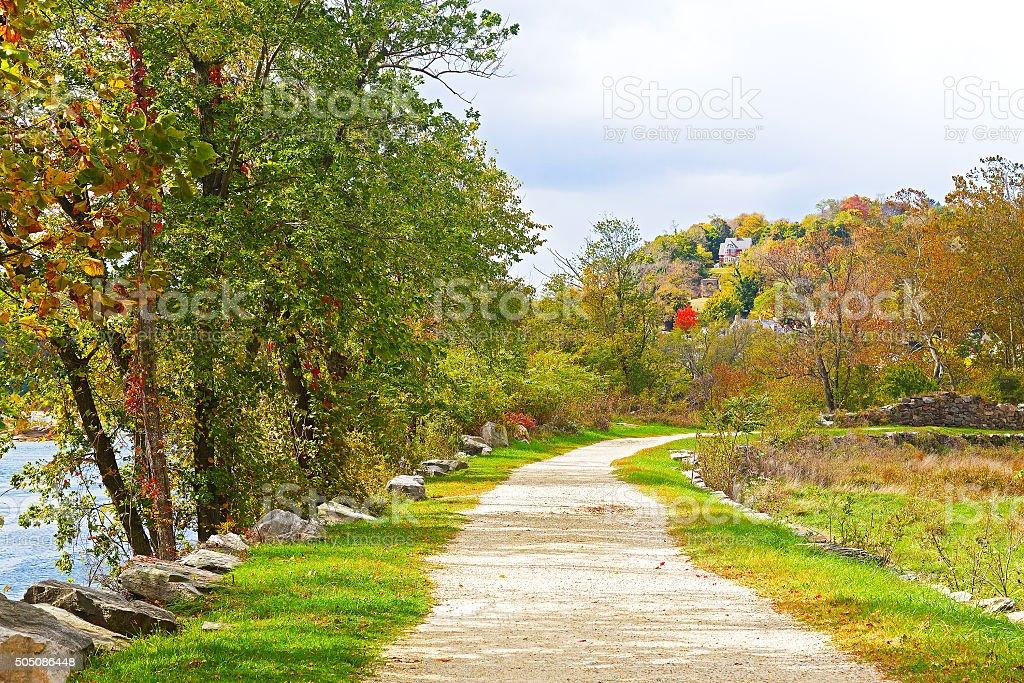 Appalachian trail along Shenandoah River near Harpers Ferry stock photo