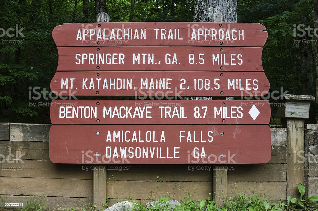 Appalachian Trail Approach Sign stock photo