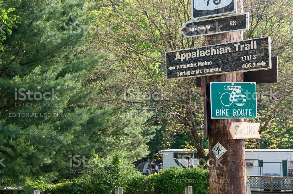 Appalachian Trail sign in Damascus, Virginia stock photo