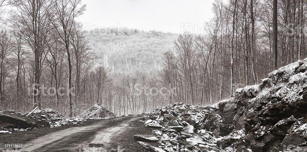 Appalachian Winter Panorama with New Road stock photo