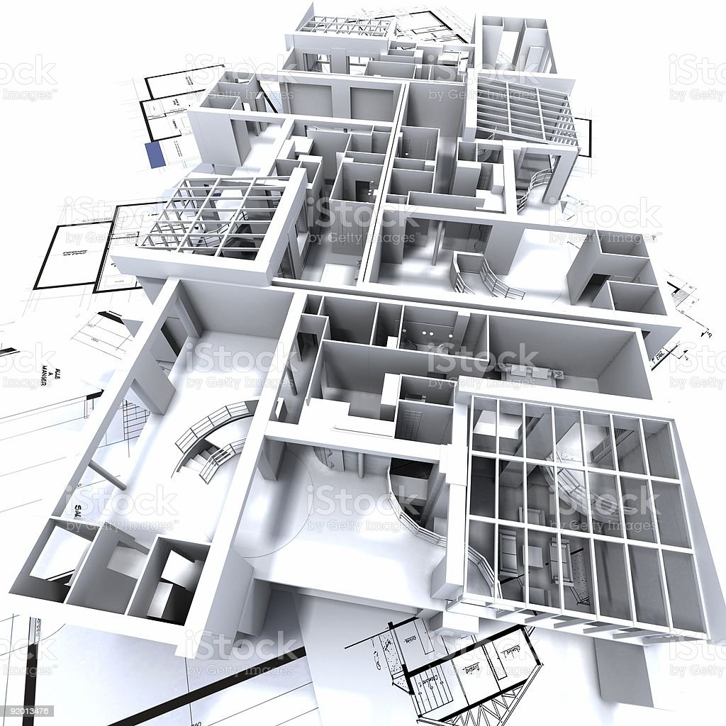 appartment mockup on blueprints royalty-free stock photo