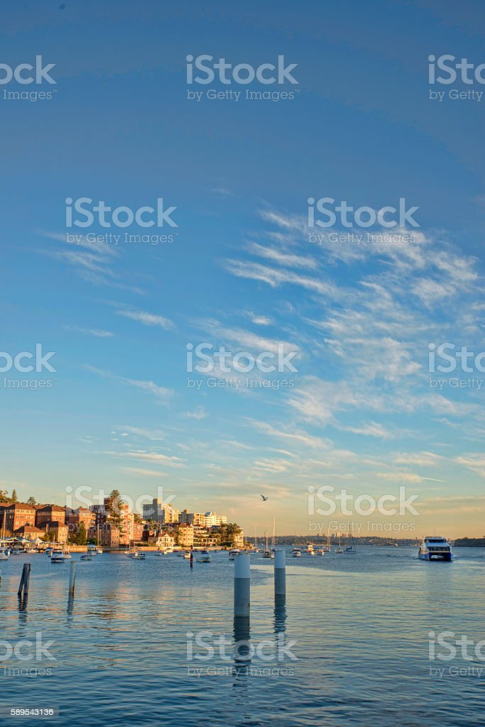 Appartments looking over the small harbour in Manly bay stock photo