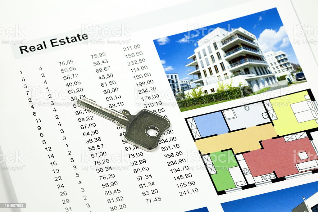 Appartments  with key stock photo