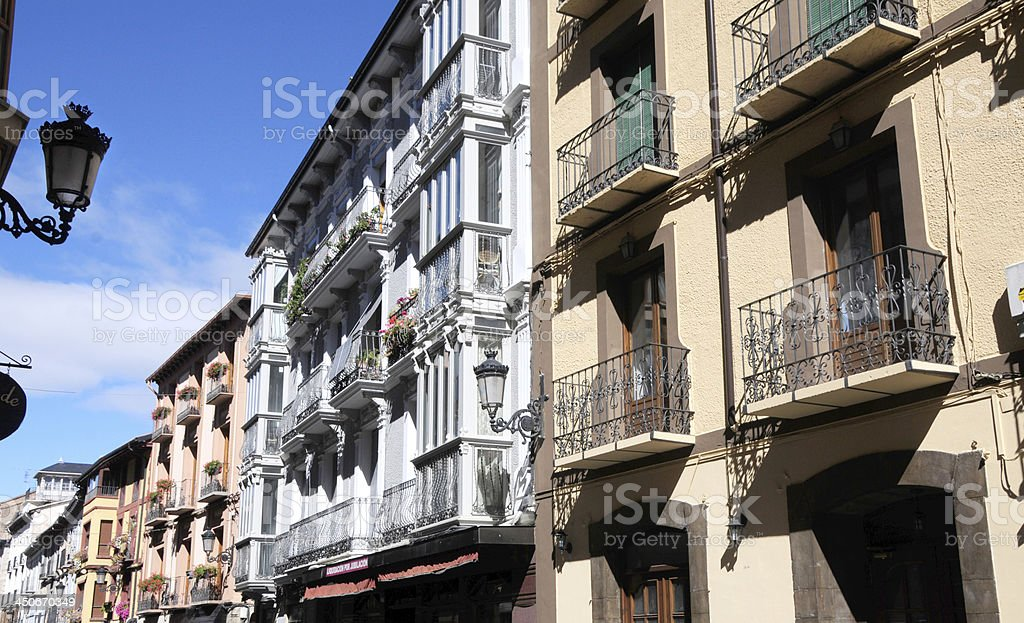 Appartments with Many Narrow Sun Parlors and balconies stock photo