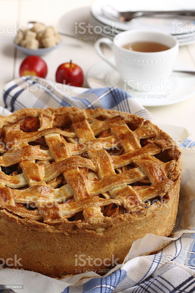 Appeltaart, homemade traditional dutch apple cake royalty-free stock photo
