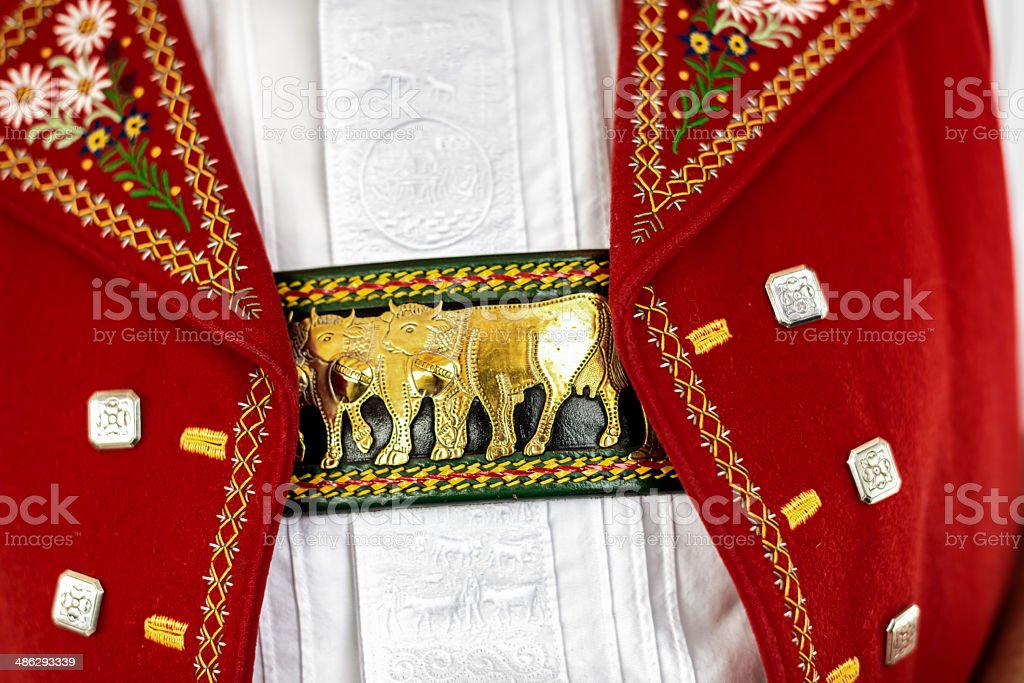 Appenzell in Switzerland: traditional costume detail stock photo