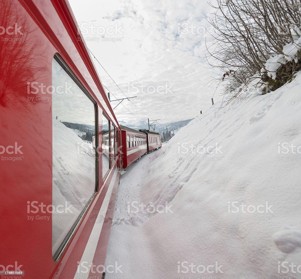 Appenzeller Bahnen in wonderful Swiss winter landscape royalty-free stock photo