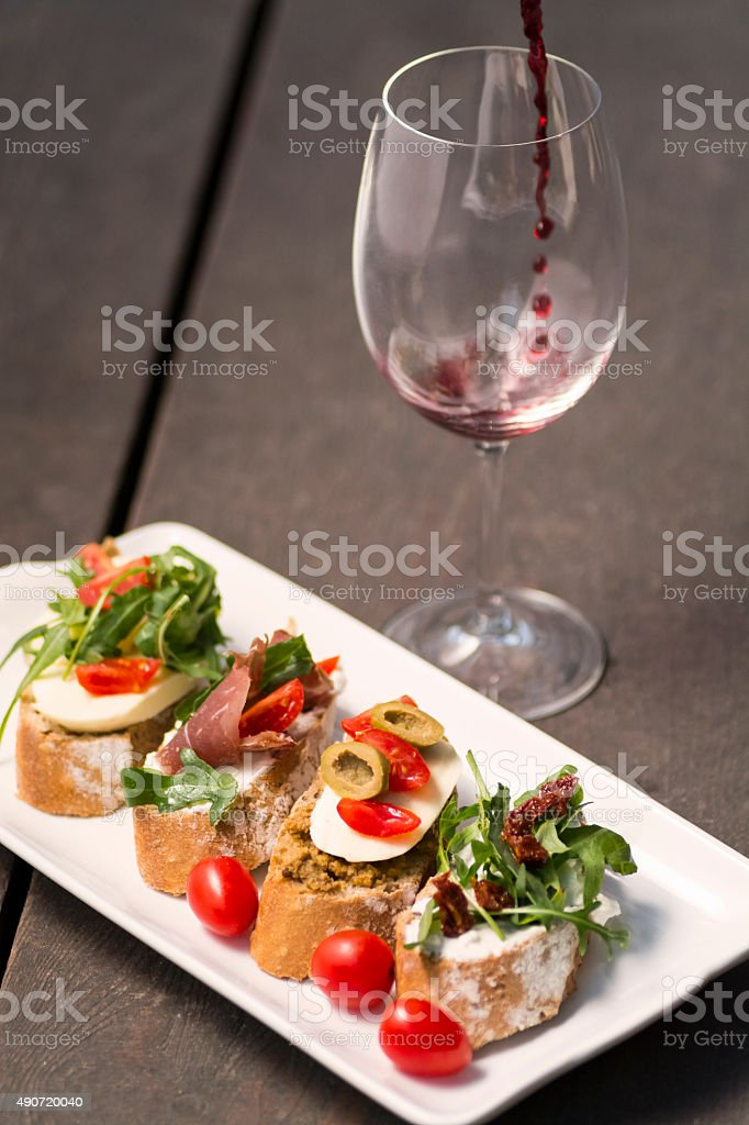 appetizer and wine royalty-free stock photo