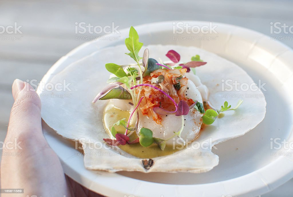 Appetizer ceviche with raw scallop stock photo