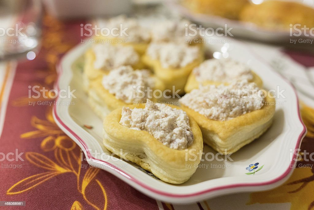 Appetizer - heart shaped vol-au-vents with cheese and ham stock photo