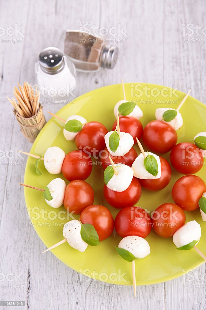 appetizer, mozzarella and tomato royalty-free stock photo