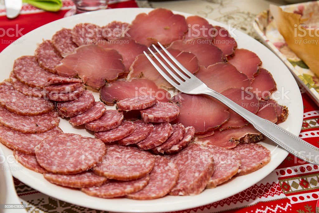 Appetizer of cold cuts stock photo