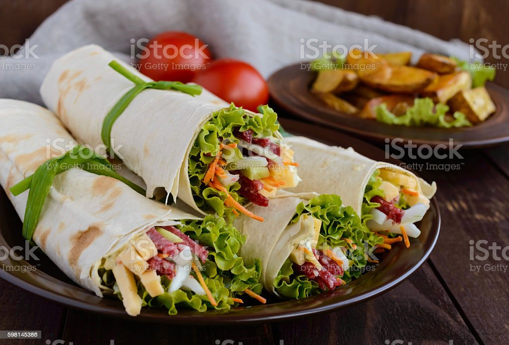 Appetizer of pita (lavash) stock photo