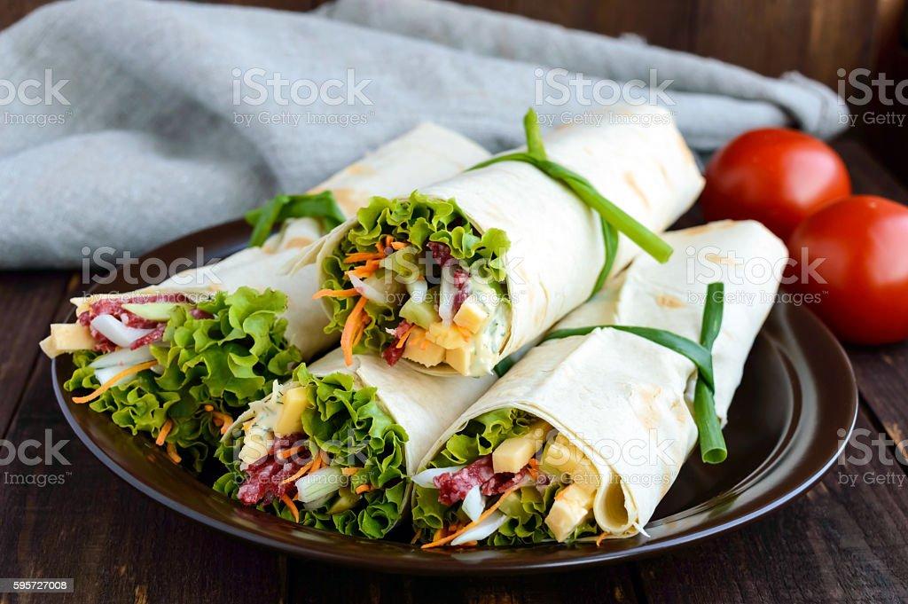 Appetizer of pita (lavash) stuffed stock photo