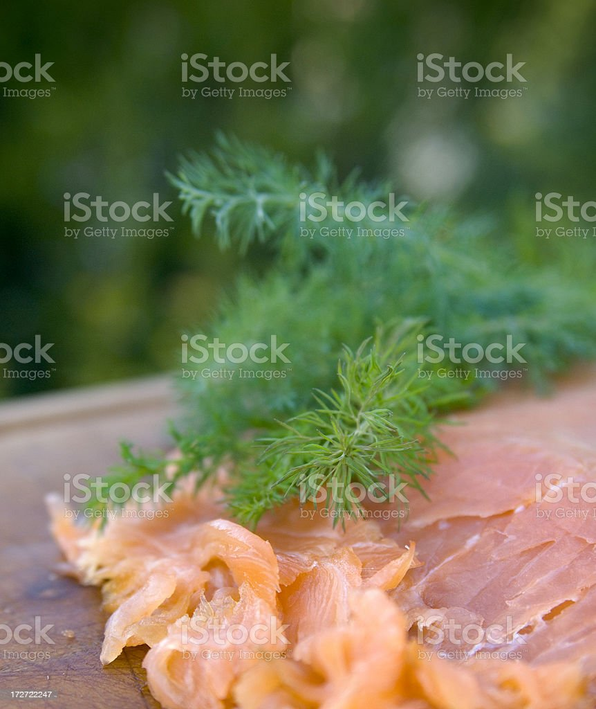 Appetizer of Scottish Seafood, Cold Smoked Salmon Fish Fillet stock photo