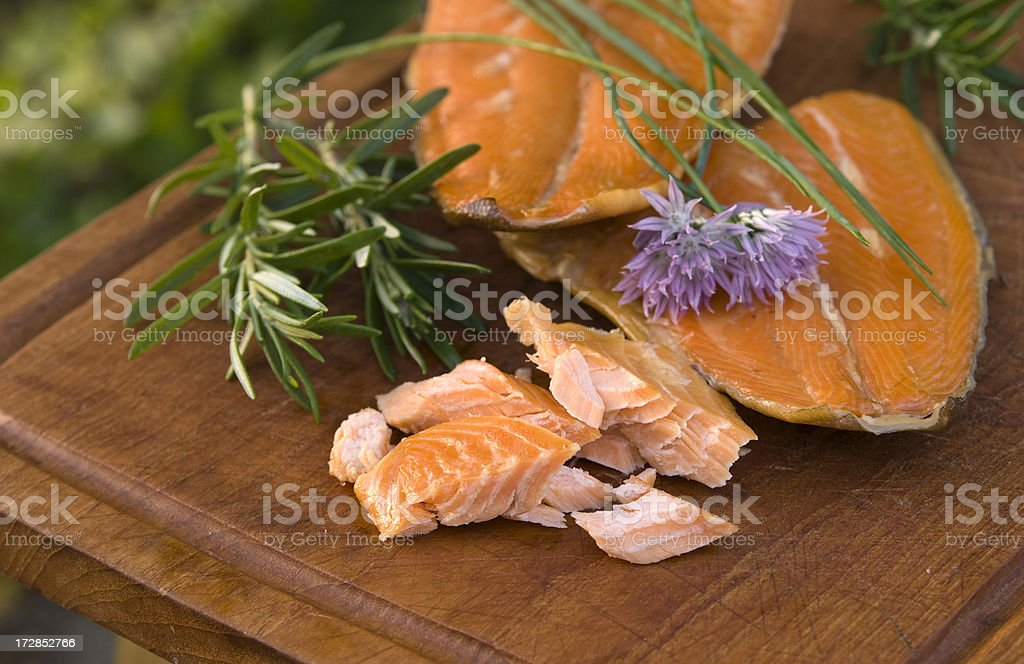Appetizer of Seafood, Smoked Trout Fish Fillet, Chives & Rosemary royalty-free stock photo
