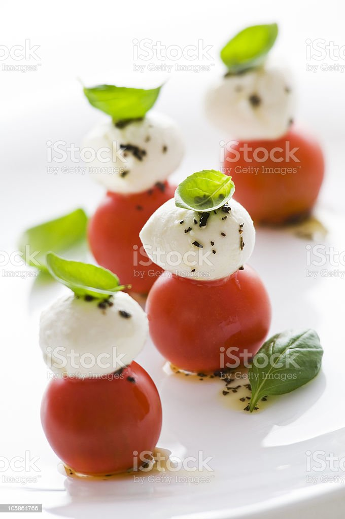 Appetizer of tomato, mozzarella and mint  royalty-free stock photo