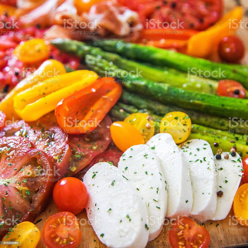 Appetizer plate - grilled vegetables with Mozzarella cheese stock photo