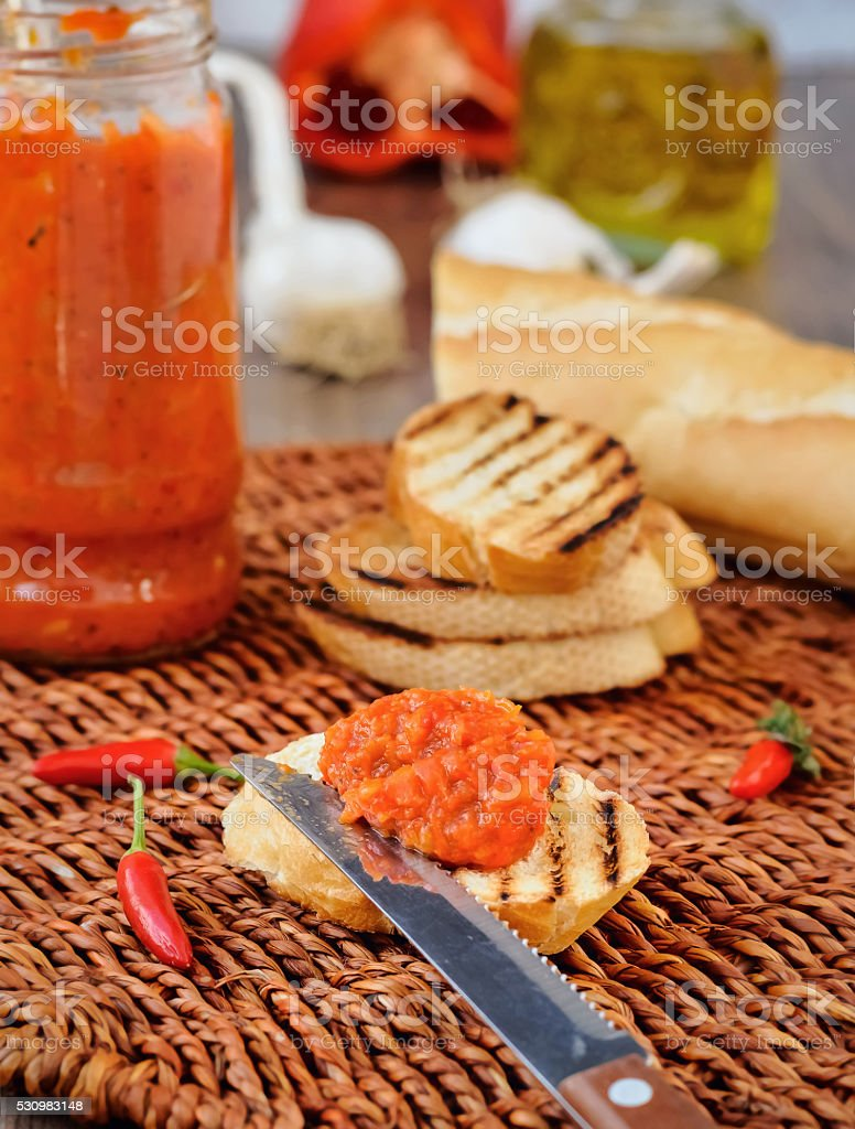 Appetizer, Red Pepper Relish. Close-up. stock photo
