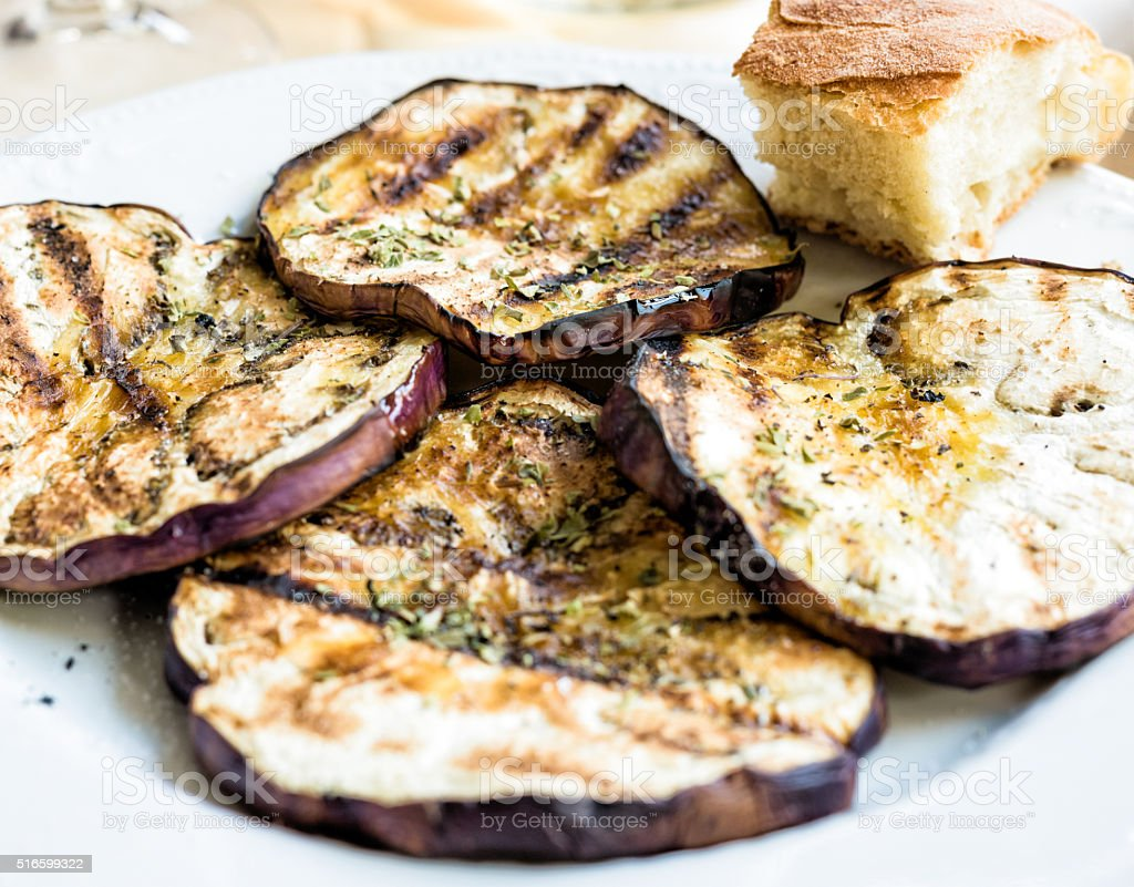 appetizer - roasted aubergine stock photo
