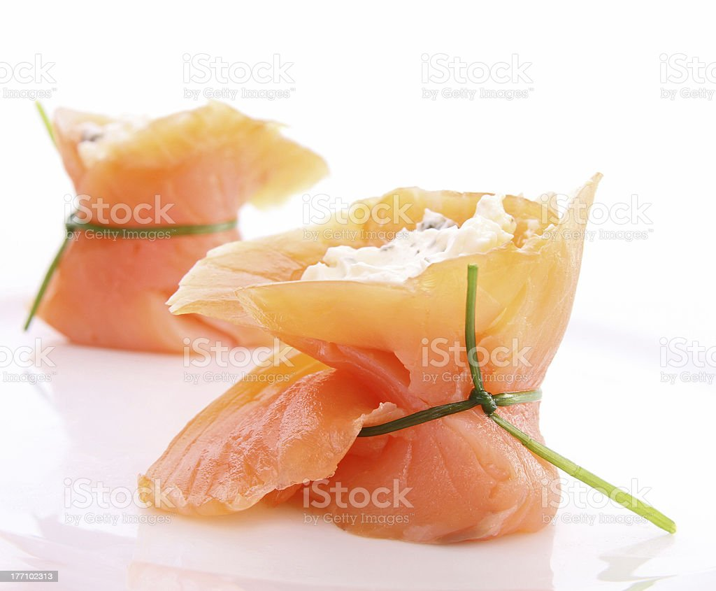 appetizer, smoked salmon and cheese stock photo