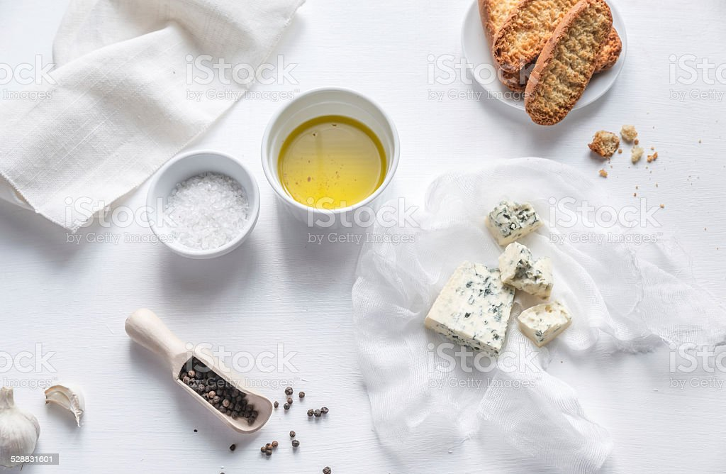Appetizer with blue cheese and croutons stock photo