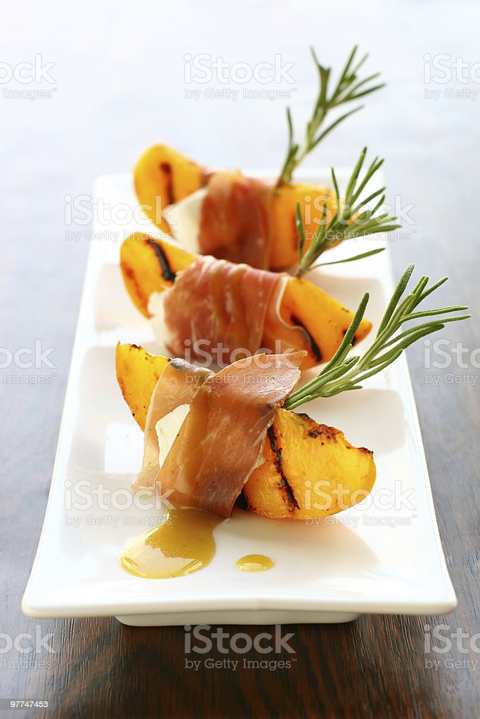 appetizer with grilled peach royalty-free stock photo