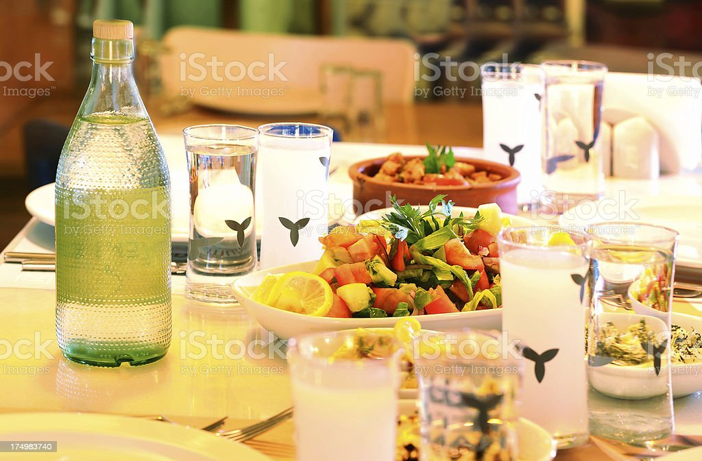 Appetizers and alcohol on the table royalty-free stock photo