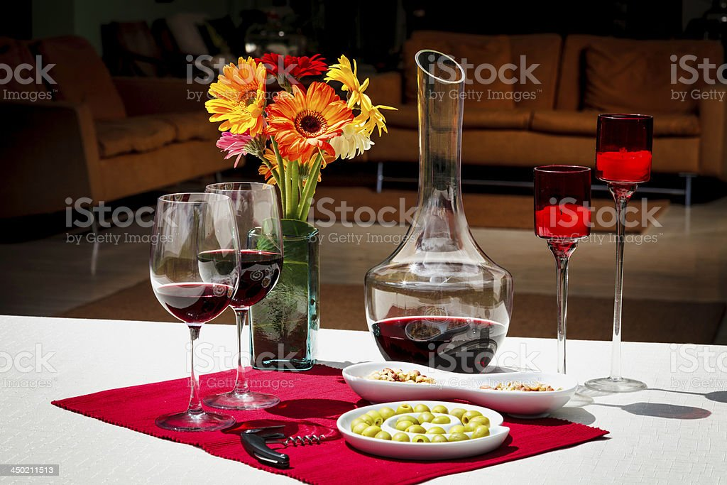 Appetizers and olives on lovely table setting  at home royalty-free stock photo