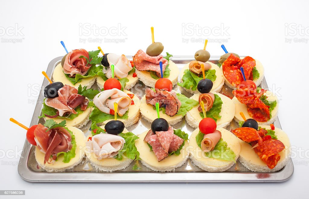 Appetizers mini desserts on catering buffet stock photo