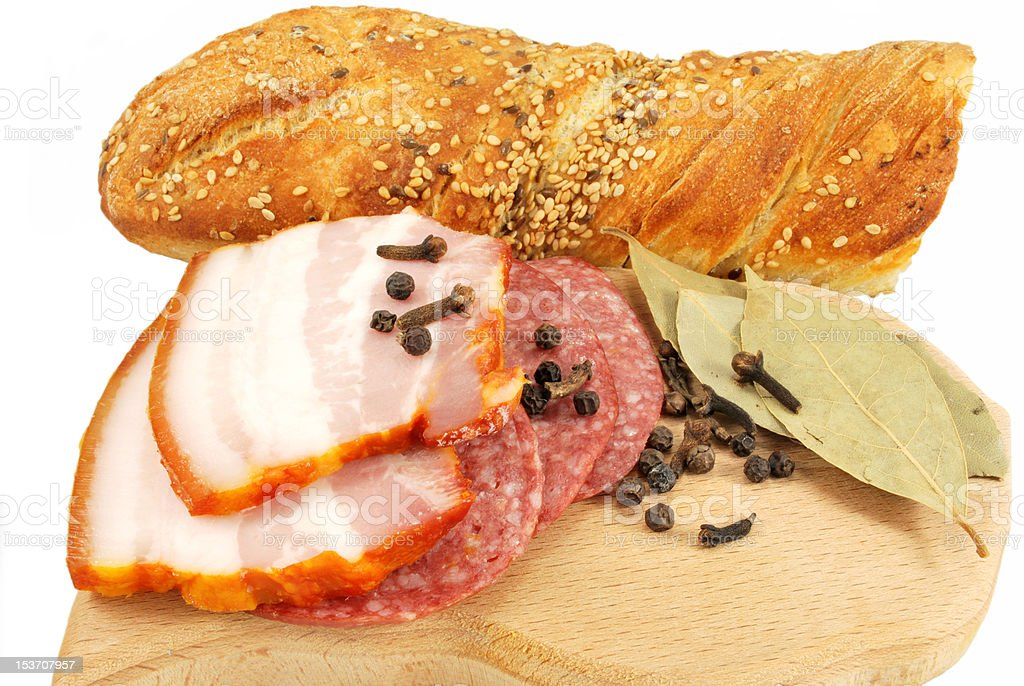 appetizers of smoked meat and bread royalty-free stock photo