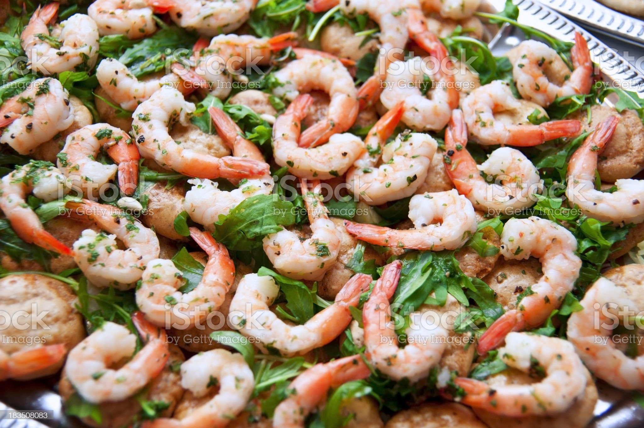 appetizers shrimps canapes on catering buffet tablet royalty-free stock photo