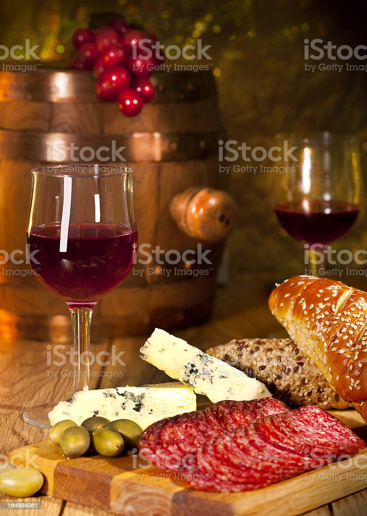 Appetizers with wine royalty-free stock photo