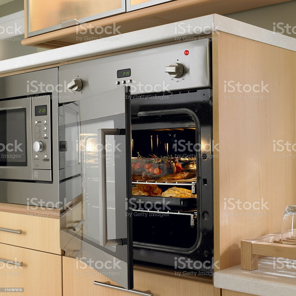 Appetizing dinner in the oven stock photo